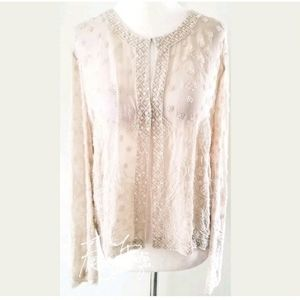 VINTAGE TALBOTS SILK BEADED SEMI SHEER TOP SZ L